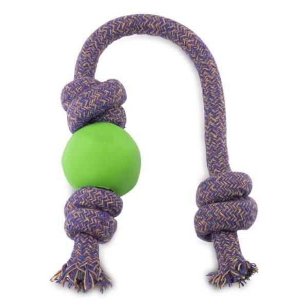 Beco Hundespielzeug Ball mit Seil Grün