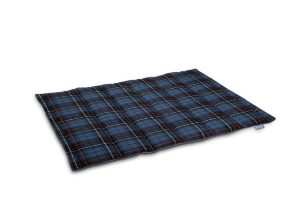 Brott-Dog-Roll-Bett-Tartan-Blau