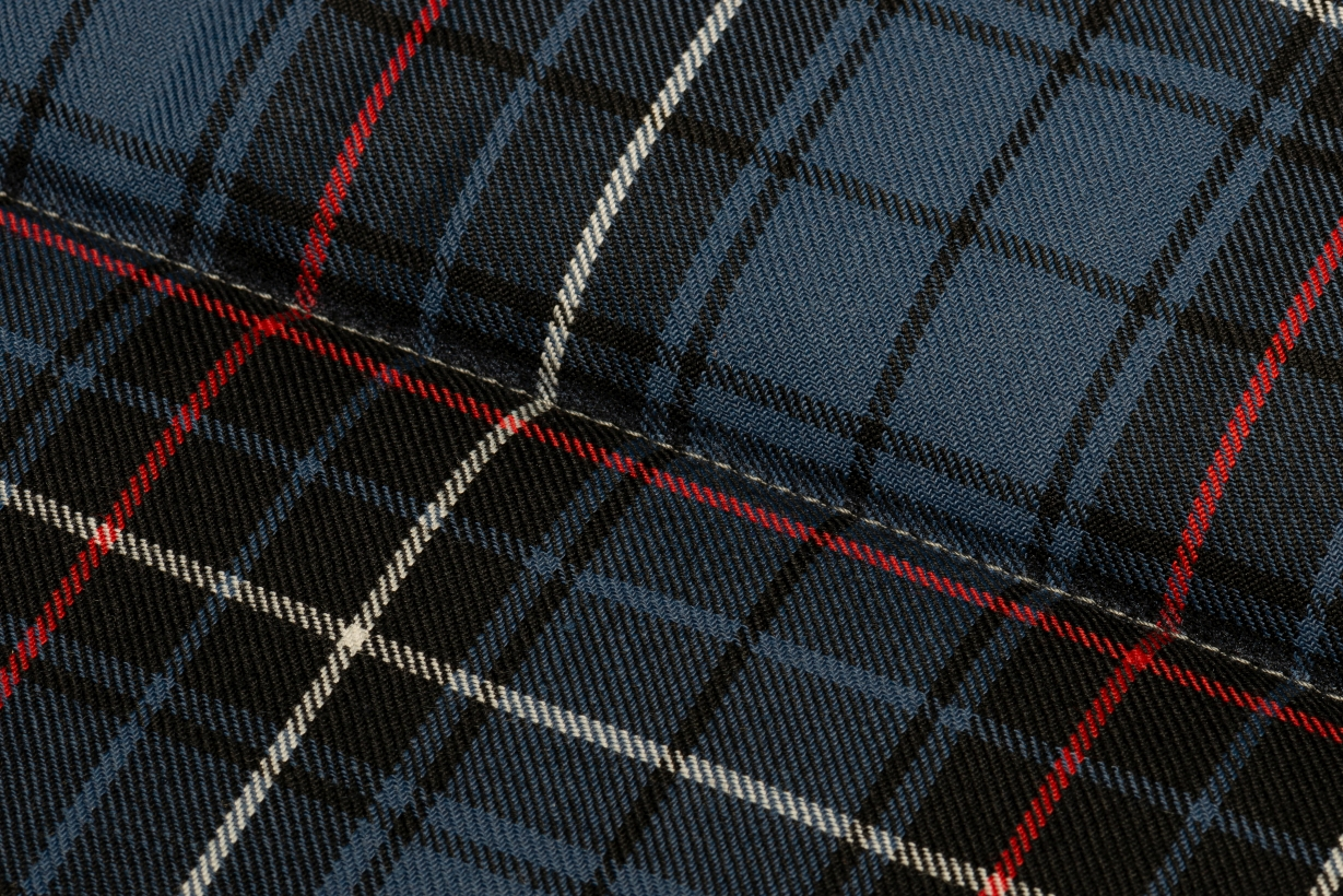 Brott-Dog-Roll-Bett-Tartan-Blau-Stoff
