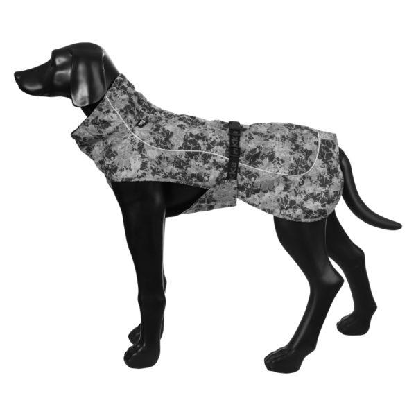 Rukka-Pets-Regenmantel-Drizzle-grau-auf-model-seitenansicht