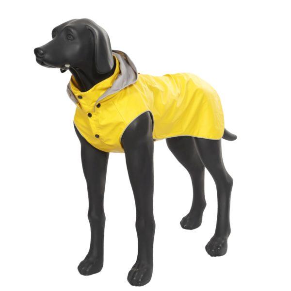 Rukka-Pets-Regenmantel-Stream-Gelb-auf-model