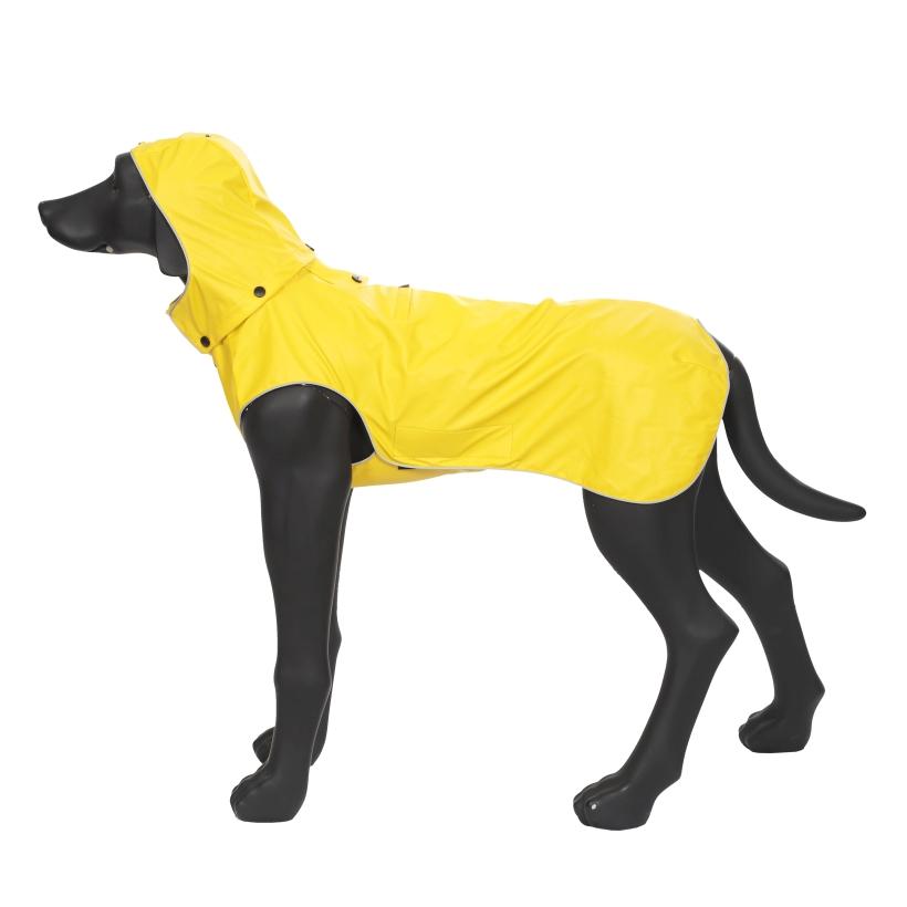 Rukka-Pets-Regenmantel-Stream-Gelb-auf-model-mit-kapuze-seitenansicht