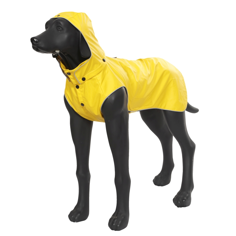 Rukka-Pets-Regenmantel-Stream-Gelb-auf-model-mit-kapuze