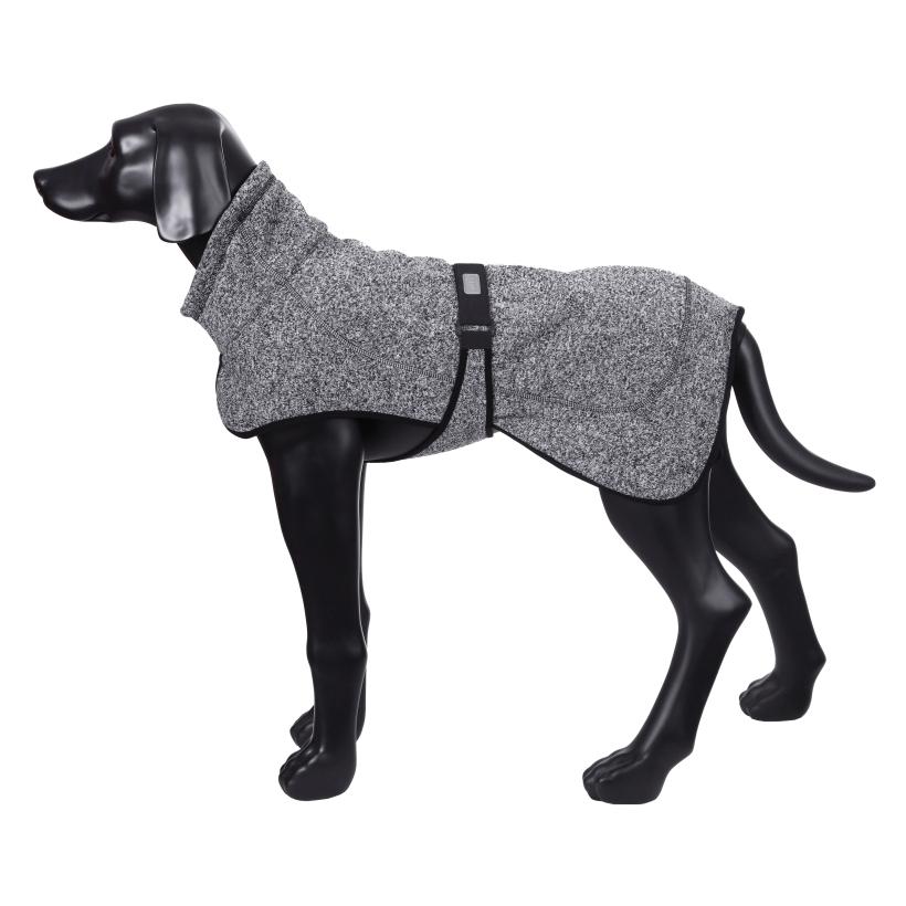 Rukka-Pets-Fleecejacke-Comfy-Grau-auf-model-seitenansicht