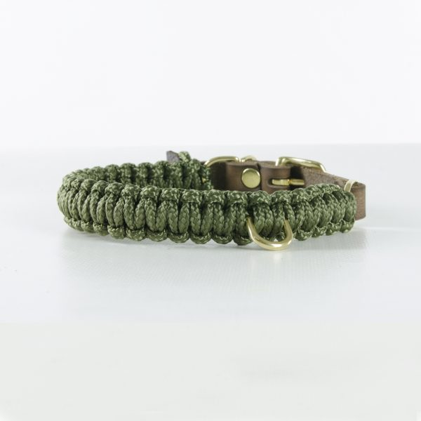 Molly & Stitch Halsband Touch of Leather Military Gold Front