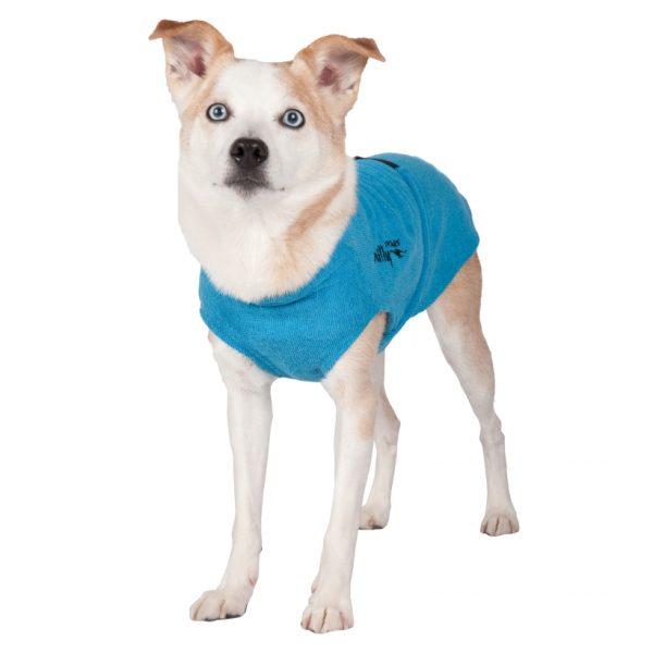 Chilly-Dogs-Bademantel-soaker-robe-Blau-Hund-Frontansicht