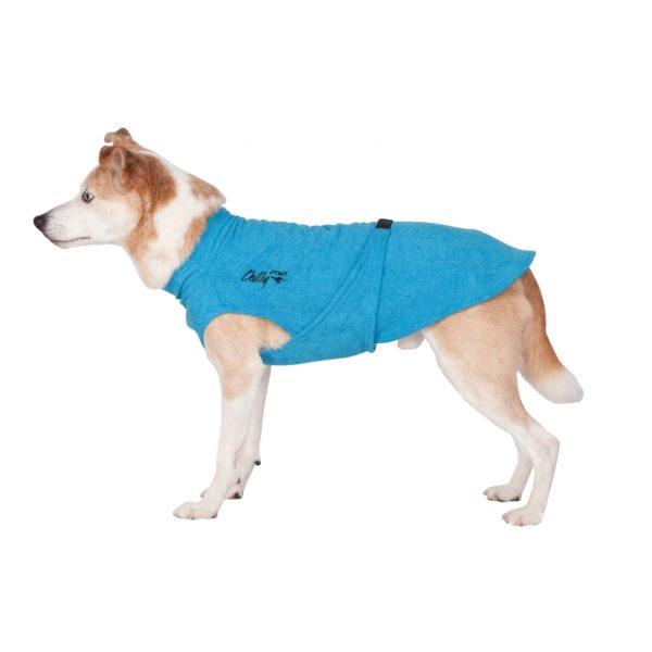 Chilly-Dogs-Bademantel-soaker-robe-Blau-Hund-Seitenansicht
