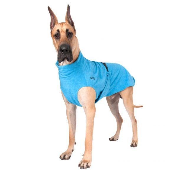 Chilly-Dogs-Bademantel-soaker-robe-Blau-deutsche-dogge-frontansicht