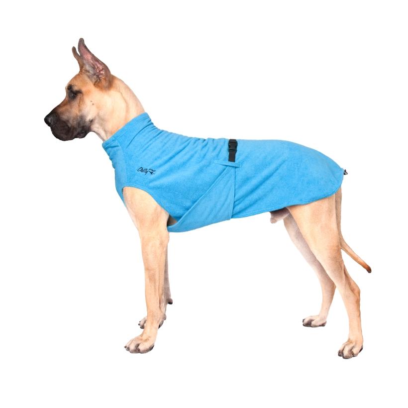 Chilly-Dogs-Bademantel-soaker-robe-Blau-deutsche-dogge-seitenansicht