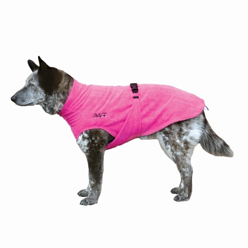Chilly-Dogs-Bademantel-soaker-robe-Pink-hund-seitenansicht