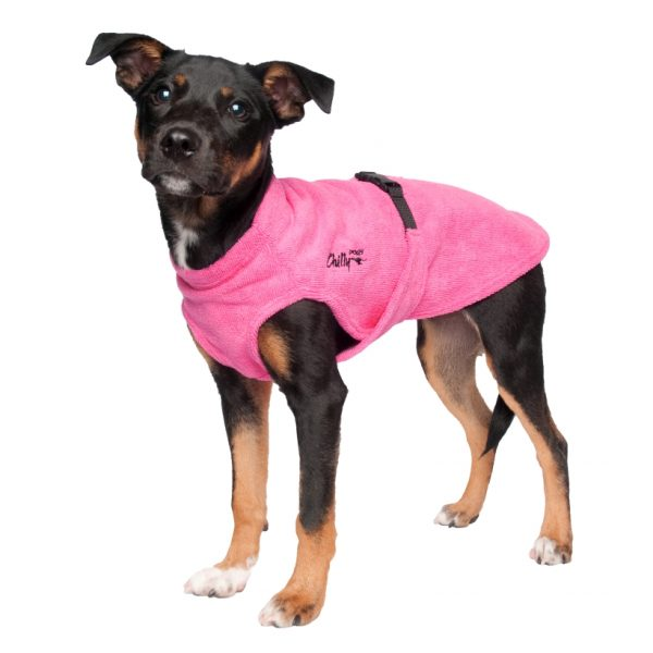 Chilly-Dogs-Bademantel-soaker-robe-Pink-hundewelpe-frontansicht