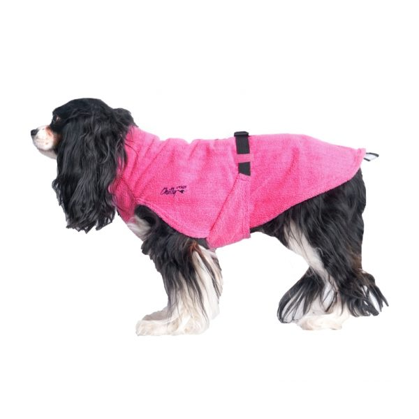 Chilly-Dogs-Bademantel-soaker-robe-Pink-king-charles-seitenansicht