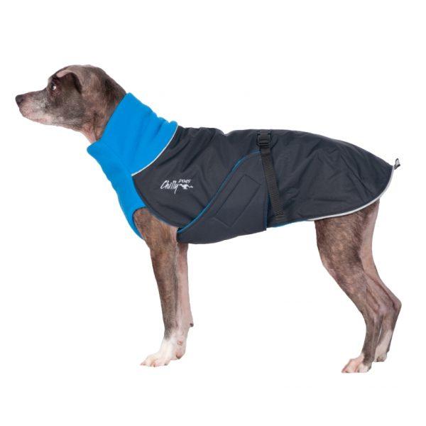 Chilly-Dogs-Great-White-North-Mantel-Blau-Schwarz-Seitenansicht-auf-Hund