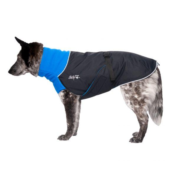 Chilly-Dogs-Great-White-North-Mantel-Blau-Schwarz-Seitenansicht-auf-Hund2