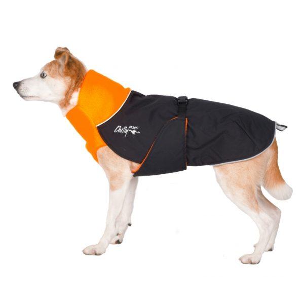 Chilly-Dogs-Great-White-North-Mantel-Orange-Schwarz-Seitenansicht-Hund