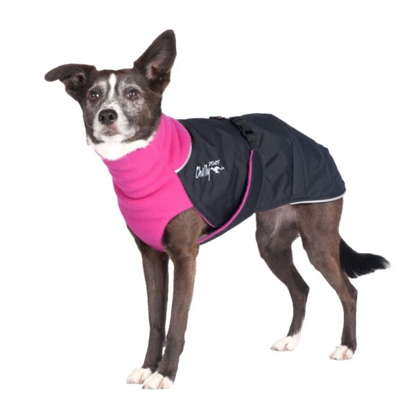 Chilly-Dogs-Great-White-North-Mantel-Pink-Schwarz-Hund-Frontansicht