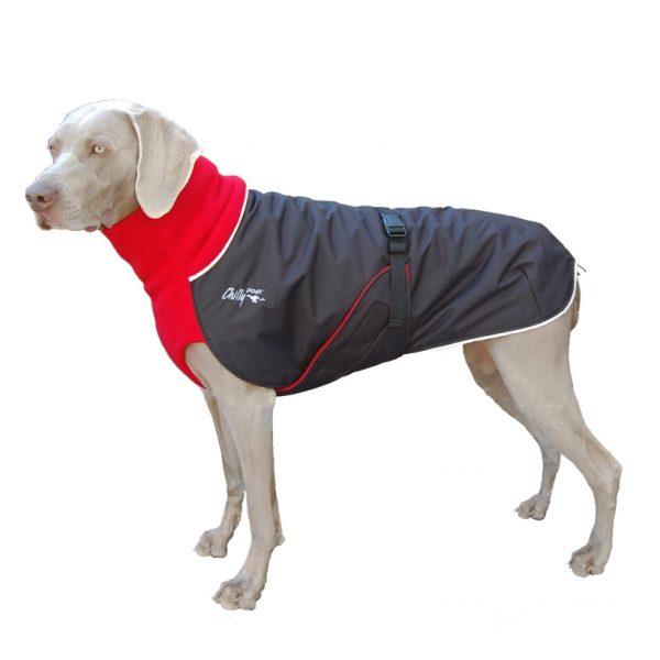 Chilly-Dogs-Great-White-North-Mantel-Rot-Schwarz-Weimaraner-Seitenansicht