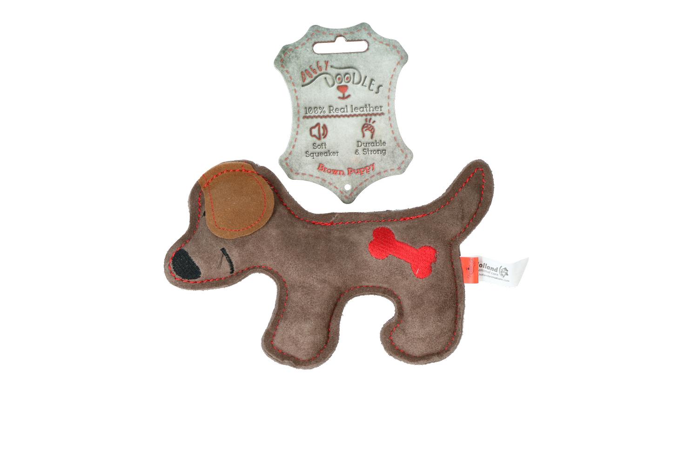 Doggy-Doodles-Hundespielzeug-Puppy-Braun-Rot-Etikett